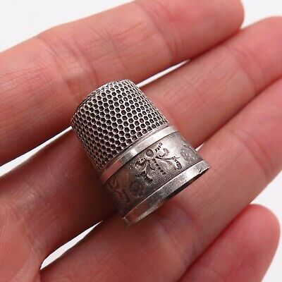 Simons Brothers Antique Victorian Sterling Silver Etched Floral Sewing Thimble