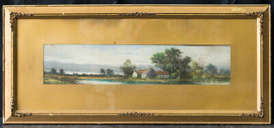 "Antique 19th Century American Pastels Painting ""House Beside River"""