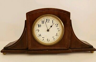 Antique 19th C. French Mini Walnut Tambour Mantel Shelf Clock H&H Co. France