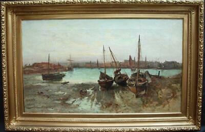 LARGE 19th Century HARBOUR VIEW FISHING BOATS AT SUNSET Antique Oil Painting