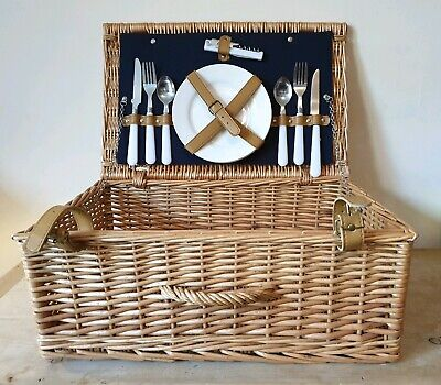 Wicker Hamper Picnic Basket Large with Buckles Plates Cutlery Christmas Gift VGC