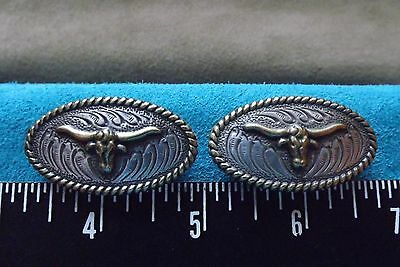 Leather Tools/ ** Tandy ** 2 Oval Longhorn Screw Back Conchos ** #11373-25 **