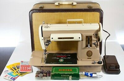 Singer 301A Portable Vintage Sewing Machine With Case & Accessories NB063083