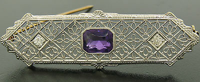 Antique Art Deco 14k Two Tone Gold Amethyst & Old Diamond Etched Filigree Brooch