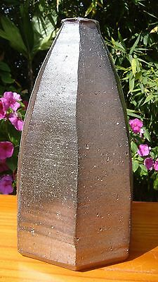 ANTIQUE JAPANESE VASE 19th C. EDO ERA IMBE BIZEN CERAMIC / ARTIST SIGNED