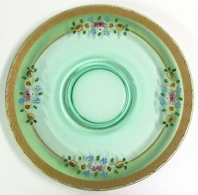 Westmoreland (?) 1930s Green Depression Glass Cheese & Cracker Plate Floral Gold