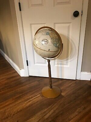 "Vintage Replogle 12'' Raised Relief Globemaster Globe With 32"" Stand"