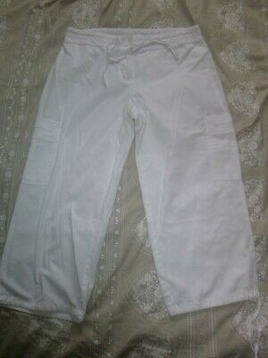 dorothy perkins size 12 white cotton long length shorts/crop trousers