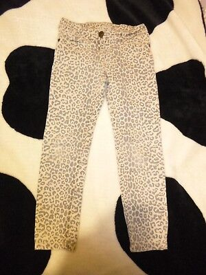 next girls beige animal print jeans/trousers age 7