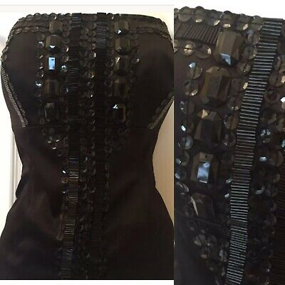 Next Satin Black Embellished Beaded Bustier Corset Top Size 8 Christmas Party