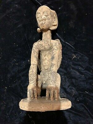 """Antique African art hand carved wood figure winged horned crouching devil 18"""""""