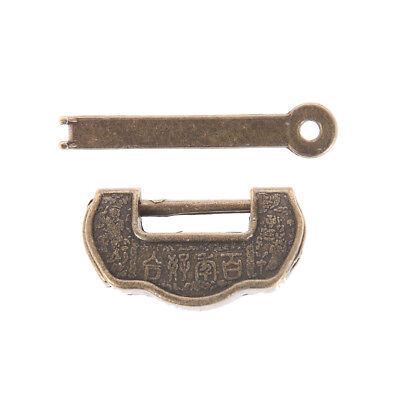 Archaistic Chinese Vintage Antique Old Style Lock/key Brass Carved  Padlock qd