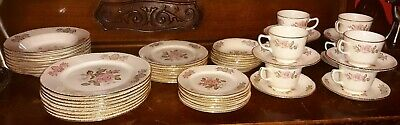 7 PIECE Homer Laughlin Queen Esther China Luncheon Service 22k gold rim must see