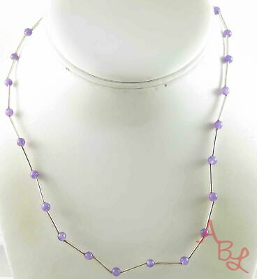 """Sterling Silver Vintage 925 Beaded Amethyst Necklace 17"""" (5.2g) - 804065"""