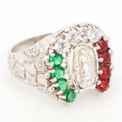VTG Sterling Silver - MEXICO CZ Cubic Zirconia Virgin Mary Ring Size 7.5 - 5g