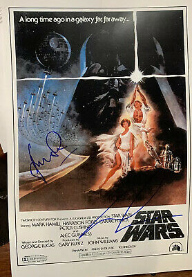 Star Wars Harrison Ford George Lucas Authentic Hand Signed 11x17  Auto Photo LOA
