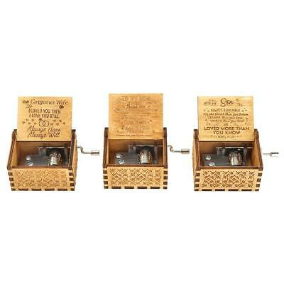 Retro Exquisite Wooden Hand Cranked Music Box Home Crafts Ornaments Gifts F07#