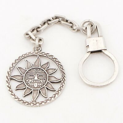 VTG Sterling Silver - MEXICO TAXCO Mayan Sun Keychain Key Ring - 22g