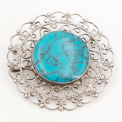 VTG Sterling Silver MEXICO Turquoise Stone Filigree Ornate Brooch Pin 11.5g