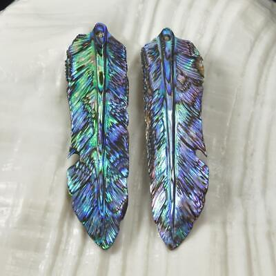 Multicolor Paua Abalone Shell Iridescent Carved Bird Feather Earring Pair 1.74 g