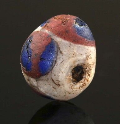 Ancient Roman glass beads: rare mosaic cane eye bead, 2 - 1 century BC