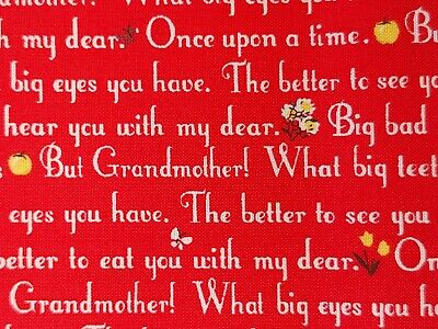 """BTY Little Red Riding Hood Verse By Windham 100% COTTON Red 45"""" Wide Coordinate"""
