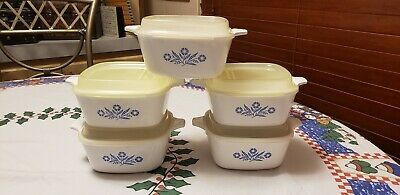 Corning Ware Blue Cornflower Set of Five P-43-B Petite Pans & Five Plastic Lids