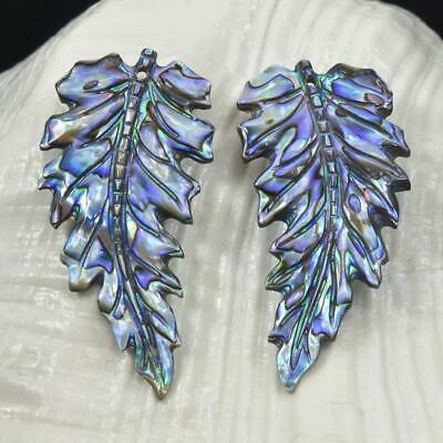 Multicolor Paua Abalone Shell Iridescent Carved Exotic Leaf Earring Pair 4.93 g