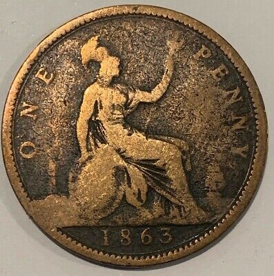1863 Great Britain GB UK England Penny Victoria Coin