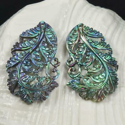 Multicolor Paua Abalone Shell Iridescent Carved Fern Leaf Earring Pair 3.81 g