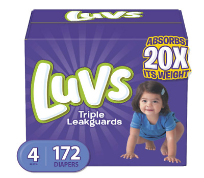 Baby Diapers Luvs Ultra Leakguards Disposable Diaper Size 4, 22-37 lb, 172 Count