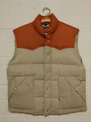 VINTAGE Men's Down Peak Vest Size Medium Western Style Front Button Snap USA