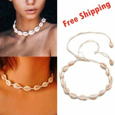 Women Retro Beach Sea Shell Cowrie Pendant Choker Necklace Jewelry Xmas Gift AU