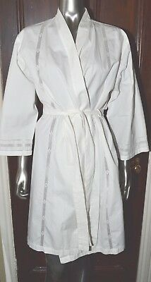 Yves Delorme Robe Dressing Gown Wrap Palace Collection Cotton White Embroidered