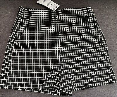 Zara  Black White Checked High Waisted Shorts  SIZE S NEW WITH TAGS 4886/049