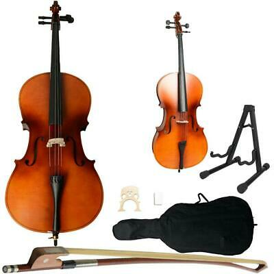 4/4 Size Beginner Wood Color Basswood Cello w/Bag Bow Rosin Bridge Stand