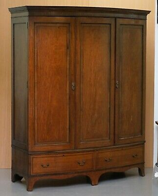 Large Triple Bow Fronted Victorian Mahogany Wardrobe With Drawers Dismantles