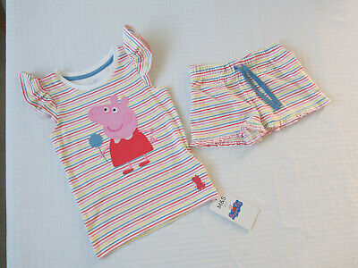 M&S Peppa Pig Summer Outfit: Shorts & Long Top 2 - 3 years  BNWT