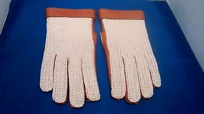 True Vintage Crochet Back Tan Leather Driving Gloves British Made Size 8.5