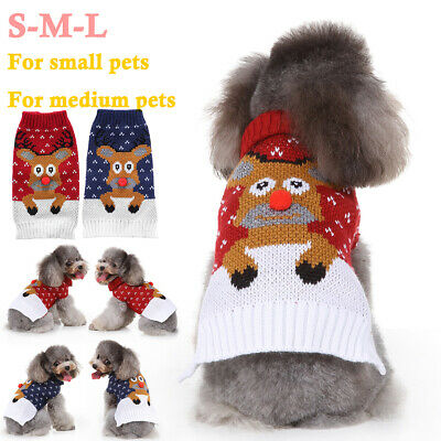 XMAS Pet Puppy Dog Cat Christmas Winter Warm Sweater Coat Knitted Jumper Clothes