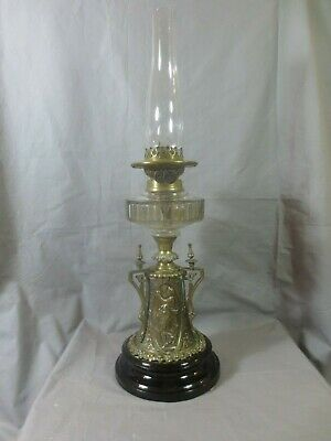 Antique Victorian Wright & Butler Brass And  Glass Oil Lamp