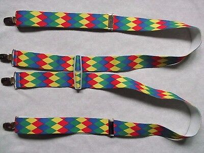 Braces Suspenders Mens Vintage CLIP ON HARLEQUIN RED GREEN BLUE