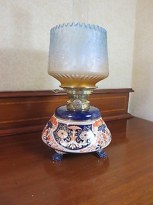 Victorian Hinks Duplex Oil Lamp With  Blue Shade Imari  By Taylor Tunnicliffe
