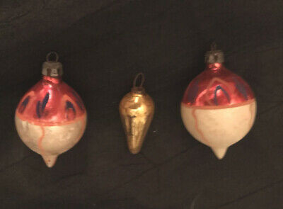 3 Antique Vintage Christmas Ornament Glass  Hand painted Poland
