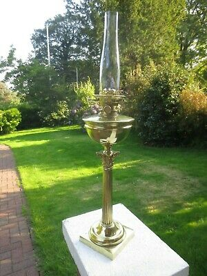 Antique Victorian Hinks Heavy Cast Brass Tapered Corinthian  Column Oil Lamp