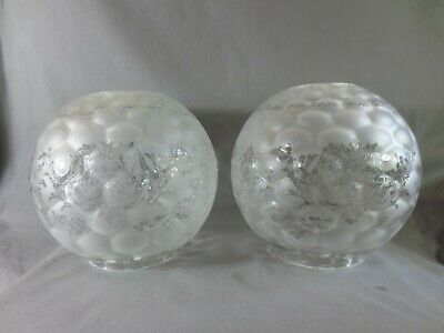Superb Rare Pair Of  Victorian   Acid Etched Glass Duplex Hinks Oil Lamp Shade