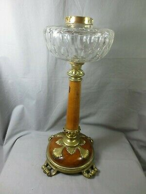 Rare Antique Victorian Wooden & Brass  Duplex Oil Lamp Base And Fount