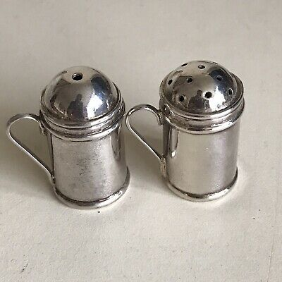 Antique Sterling Silver Salt & Pepper Pot Miniature Travel Size 28mm