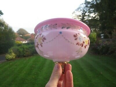 Superb  Antique Victorian  Cranberry Glass Duplex Oil Lamp Fount Font