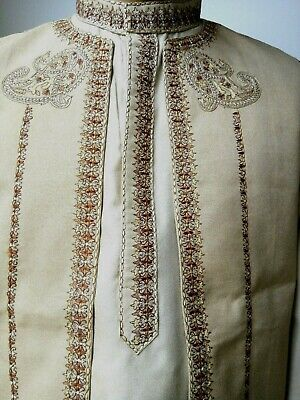 Mens Ethnic Kurta Shalwar 3 Piece Suit Sherwani Asian Cream India Size 34-38 New